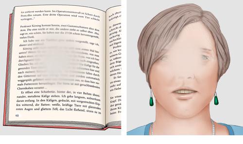 Grafik: Typischer Sehverlust bei fortgeschrittener AMD Dinge, auf die man gezielt blickt, verschwimmen, links: Buchseite, rechts: Gesicht
