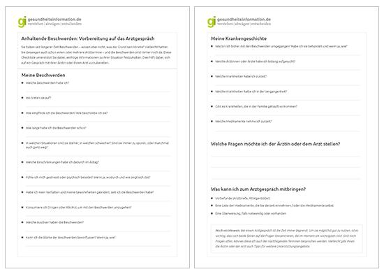 Grafik: Abbildung Checkliste zur Vorbereitung auf das Arztgespräch